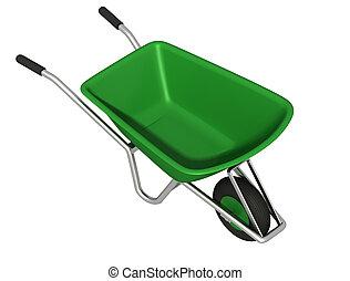verde, carrinho de mão