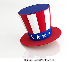 Uncle Sam's Hat isolated on white - rendering