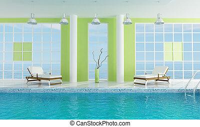 Luxury  green swimming pool