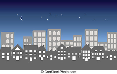 Night in the city - Suburban homes in front of a city at...