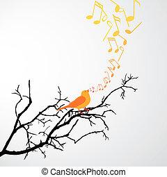 cantando, pássaro