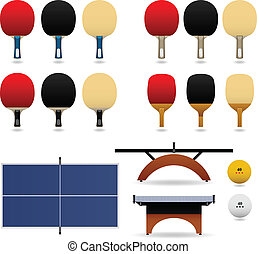 Table Tennis Set Vector - Table tennis complete set