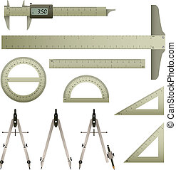 Ruler Mathematics Instrument - A set of mathematics...
