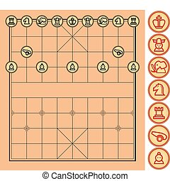 Chinese Chess Vector - A complete Chinese chess set in...