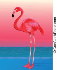 Red flamingo - Red flalmingo against the stylized sea...