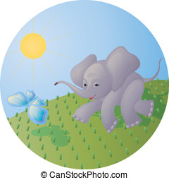 The elephant calf and the butterfly - The stylized image of...