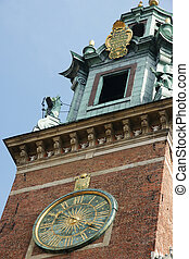 clock tower of the church on Wawel in Crakow
