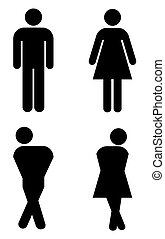 toilet sign, with silhouettes like holding pee