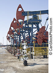Oil pumps in West Siberia Oil industry equipment