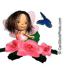 Baby Pink Rose Fairy with Butterfly