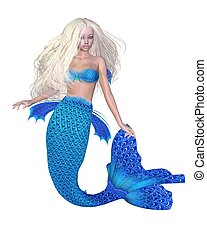 Pretty Blonde Mermaid - Pretty blonde mermaid, 3d digitally...