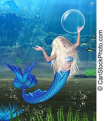 Pretty Blonde Mermaid scene - Pretty blonde mermaid with...