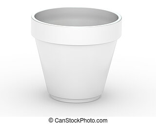 3D Flowerpot isolated on a white background
