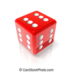 Six red dice - 3D red dice with six on all sides Win concept...