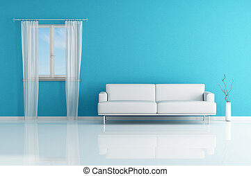 white sofa in a blue room - blue and white modern interior...