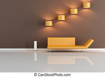 brown and orange living-room