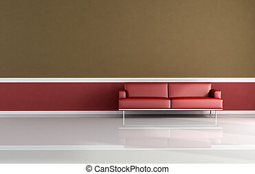 red and brown classic sofa