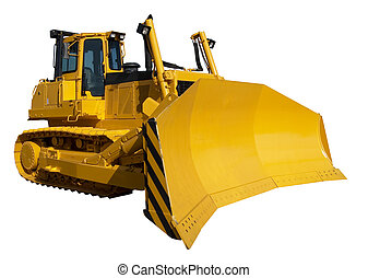 New yellow bulldozer isolated on white