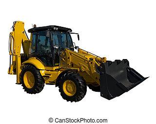 nuevo, amarillo, tractor