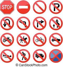 prohibido, parada, camino, señal