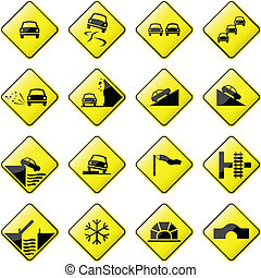 Car Road Sign - glossy road sign.
