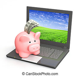 Electronic bank account. Piggy bank and laptop. Objects...