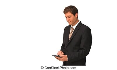 Businessman with a calculator against a white background