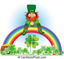 Leprechaun on rainbow - Vector illustration of leprechaun...