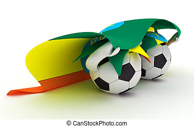 Two soccer balls hold Ethiopia flag - 3D cartoon Soccer Ball...