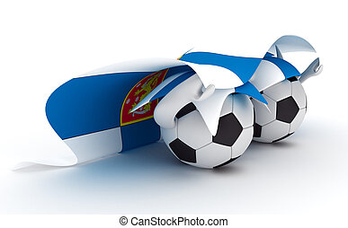 Two soccer balls hold Finland flag - 3D cartoon Soccer Ball...