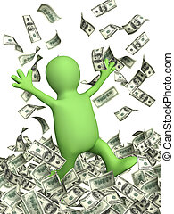 Wealth - Happy puppet and a money rain Isolated over white