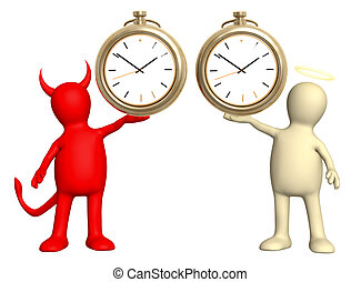 Angel and devil with clock. Isolated over white