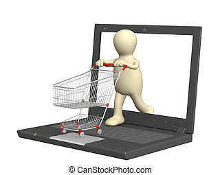 Virtual shopping - Conceptual image - virtual shopping. 3d