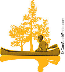 Canoe Scene - Woodcut style illustration of a man in a...