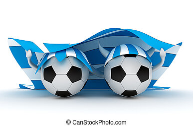 Two soccer balls hold Greece flag