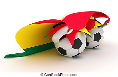 Two soccer balls hold Ghana flag - 3D cartoon Soccer Ball...