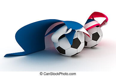 Two soccer balls hold France flag - 3D cartoon Soccer Ball...