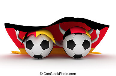 Two soccer balls hold Germany flag - 3D cartoon Soccer Ball...