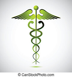 vector caduceus - illustration of vector caduceus on white...