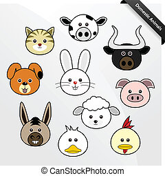 Domestic Animal Cute Cartoon - A set of cute domestic animal...
