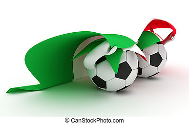 Two soccer balls hold Italy flag - 3D cartoon Soccer Ball...