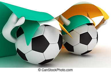 Two soccer balls hold Ireland flag - 3D cartoon Soccer Ball...