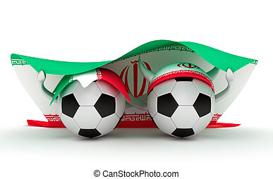 Two soccer balls hold Iran flag - 3D cartoon Soccer Ball...