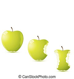 raw apples - illustration of raw apples on white background