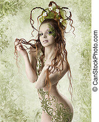 Floral spring sexy woman - Beautiful naked woman holding...