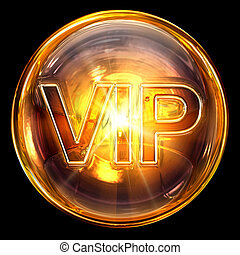 Vip icon fire, isolated on black background