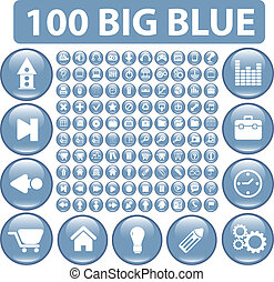 100 blue big glossy buttons, vector