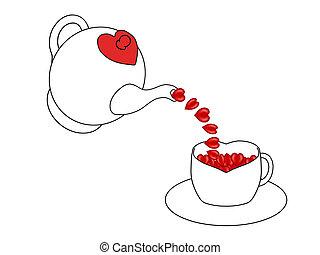 Teapot pouring hearts - Teapot pouring hearts into a heart...