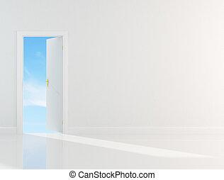 Door to heaven - conceptual ,clean sky through the door...
