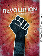 Revolution graffiti on a wall with black raised fist